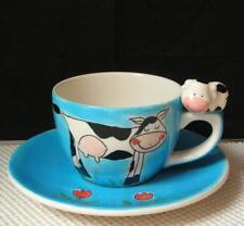 BOSMAN Handpainted Holland Figural COW TEA CUP & SAUCER EUC