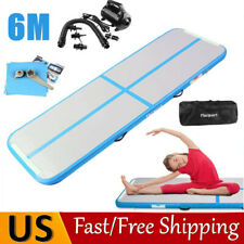 20FT Inflatable Air Gymnastics Mat Tumbling Tumble Track Home Yoga 6M Floor Pump
