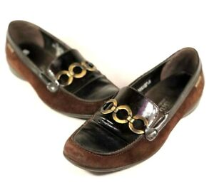 Mephisto Womens 8.5 M Brown Suede Leather Metal Circle Bit Slip On Loafers