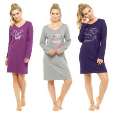 Night Gown Sleepshirt Ladies Big Shirt Long Sleeve Great With Print Unicorn Grey Rabbit XL 48-50