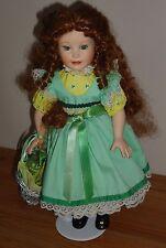 "IRISH GIRL Porcelain Doll 14"" w/basket of Shamrocks auburn hair green eyes"