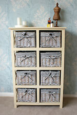 Casamore Selsey Cream 8 Drawer Chest Of Drawers Rattan Wicker Storage Unit