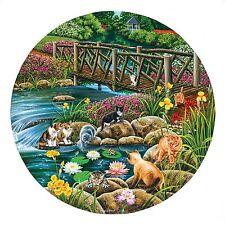 Field Cats Stream Bridge Flower Garden Round Shape Jigsaw Puzzle 1000 Piece