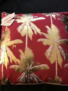 """2 Juicy Couture Throw Pillow Palm Trees 18""""x18"""" NWT INDOOR/OUTDOOR Pair"""