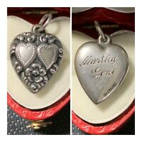 Vintage 40's Sterling Puffy Heart Bracelet Charm Double Hearts Forget Me Not