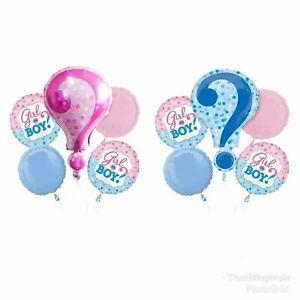 5pcs Gender Reveal Foil Balloon Kit Baby Shower Girl Boy ? Party Surprise