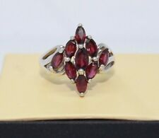 925 Sterling Silver Marquise Cut Red Garnet Cluster Ring Size 7 3/4