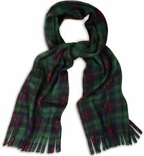 Super Soft, Cosy and Warm Green Tartan Check Fleece Scarf Scarves with Tassles