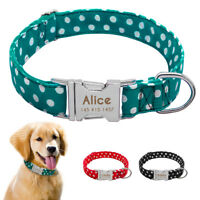 Cute Polka Dot Personalized Dog Collar Metal Buckle Engraved Dog Name Collars