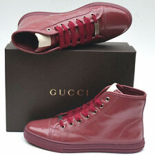 GUCCI New Womens High Top Sneakers sz 39 G 9.5 Ankle Logo Shoes Boots Tibet Red