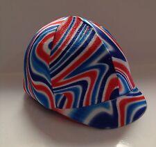 Horse Helmet Cover Deluxe Ted White & Blue Sparkly Velvet AUSTRALIAN MADE