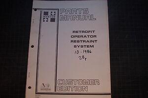 HYSTER Operator Restraint System FORKLIFT Parts Manual book catalog list shop
