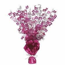 "16"" Happy 100th Birthday Pink Sparkle Foil Weight Table Centerpiece Decoration"