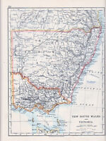 1912 MAP ~ AUSTRALIA ~ NEW SOUTH WALES & VICTORIA