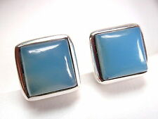 Chalcedony Square Stud Earrings 925 Sterling Silver Cube 4.75ct New