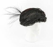 Vtg CHRISTIAN DIOR Chapeaux c.1960's Black Pleated Horsehair Feather Turban Hat