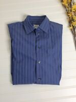 Armani Collezioni Mens Shirt Blue Stripe Button Front Long Sleeve sz S