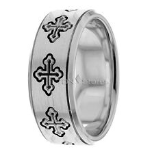 Religious Wedding Bands Rings Mens Christian 10K Gold Wedding Bands Rings Cross