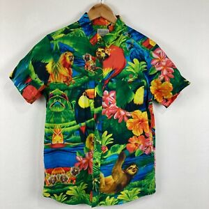 Uncle Reco Mens Button Up Shirt Medium Multicoloured Sloth Floral Short Sleeve