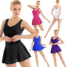 Women Adult Ballet Dress V-neck Gymnastics Leotard Bodysuit Tutu Dress Dancewear