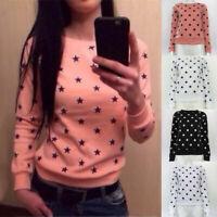 Womens Sweatshirt Pullover Long Sleeve Shirt Star Print Casual Blouse Loose Tops
