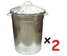 2 X Large 90l litri in Metallo Zincato Pattumiera Spazzatura Pattumiera mangimi Storage