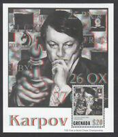 CHESS WORLD CHAMPION - A.KARPOV - Souvenir Sheet Grenada Catalog Value $15.00