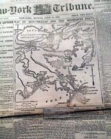 FALL OF NEW ORLEANS Louisiana Civil War MAP Fort Jackson LA 1862 Old Newspaper