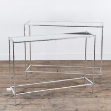 CONTEMPORARY SILVER METAL MIRROR GLASS TOP NEST OF 2 CONSOLE SIDE TABLE (CMT022)