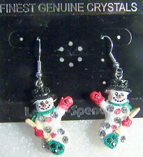 LOVELY HOLIDAY SILVERTONE SNOWMAN EARRINGS WITH CLEAR, GREEN AND RED CRYSTALS