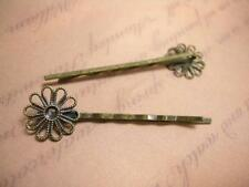 4pc antique bronze hair clips with filigree setting-5876