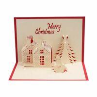 Weihnachts Karte 3D Pop-Up Frohe Weihnachten Schloss Hand Gefertigte Gruß K D7V5