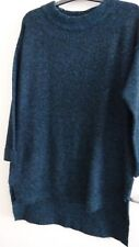 MARKS AND SPENCER NEW WITH TAGS LONG LINE KNITTED TEAL JUMPER DRESS SIZE 14