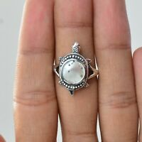 Handmade 925 Solid Sterling Silver Jewelry Mother Of Pearl Gemstone Ring Size 6