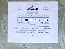 A2e ephemera advert undated e t roberts ltd carlisle