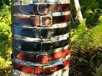 """Handmade Heavy Duty Solid Leather Belt Men Women 1 1/2"""" Inch wide Brass/Chrome"""