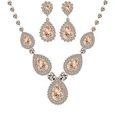 Gold Plated Crystal Rhinestone Necklace and Earrings Jewelry Set for Wedding