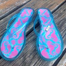 a74288345ae2 Lilly Pulitzer Sea Horses Jelly Flip Flops Sz 9 EU 39 Sandals Shoes Pink  Blue