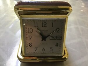 Vintage Day & Date Europa Travel Clock Watch 7 Jewels -Germany Working
