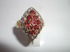 Fashion Gold Plated Garnet Cluster Ring - Size P - With Velvet Pouch