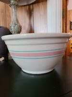 Vintage MCCOY POTTERY Blue Pink BAND Stripes #12 Mixing Bowl LARGE
