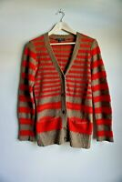 Gap Red and Brown Striped Button up Cardigan Sweater Women's Size Medium
