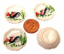 1:12 Scale 4 Cockerel Dishes Plate Dolls House Miniature Ceramic Accessories C44