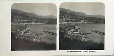 Villefranche Port militaire Photo Stereo Steglitz Berlin Vintage Argentique 1904