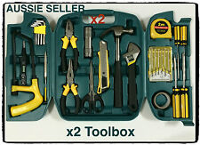 2x 28 piece small portable  bulk tool box kit