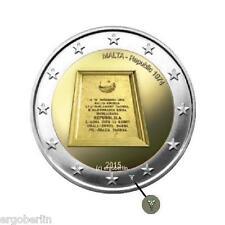2 Euro Gedenkmünze/Sondermünze Malta 2015 1974 Republik mit Münzzeichen + Kapsel