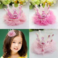 Fashion Baby Girls Pink Crown Pearl Princess Hair Clip Party Holiday Accessories