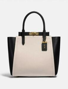 Coach Troupe Tote In Colorblock Chalk/ Black With Brass #78484 NWT $695 Retail