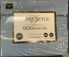 New HOTEL STYLE 6 Piece KING SHEET SET 1200 Thread Count BLUE LINEN