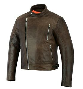 Vintage Brown  High Quality Motorcycle Motorbike Cow Plain  Leather Jacket